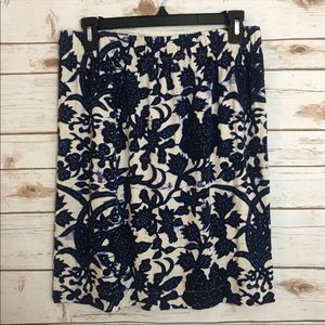 Loft Career Floral Mid Straight Line Skirt